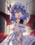 1girl alternate_costume blue_hair blurry commentary cowboy_shot depth_of_field earrings eyebrows_visible_through_hair hat hat_ribbon highres jewelry looking_at_viewer mob_cap nail_polish off-shoulder_shirt off_shoulder open_mouth petals pinstripe_pattern pointy_ears red_eyes red_wings remilia_scarlet ribbon rin_falcon shirt skirt sleeveless sleeveless_turtleneck solo striped touhou turtleneck upper_teeth white_headwear white_shirt white_skirt wings