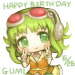 1girl :> bare_shoulders belt brooch character_name chibi commentary cowboy_shot dated double_v goggles green_eyes green_hair gumi hands_up happy_birthday headset jewelry layered_skirt orange_shirt orange_skirt red_goggles shirt skirt smile solo v vocaloid white_background yoruake_hoshiko