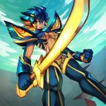 1girl black_hair blonde_hair boots breasts clenched_hand commentary cosplay day english_commentary from_below frown glowing glowing_sword glowing_weapon highres holding holding_sword holding_weapon kamui_(kill_la_kill) kill_la_kill looking_at_viewer matoi_ryuuko matoi_ryuuko_(cosplay) medium_breasts multicolored_hair original revealing_clothes ron_tsfany senketsu short_hair solo suspenders sword thigh-highs thigh_boots two-tone_hair under_boob weapon yellow_(ron_tsfany) yellow_eyes