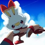 1boy ao_anpk arm_up blush closed_mouth clouds commentary_request dark_skin dark_skinned_male day gen_8_pokemon goh_(pokemon) looking_at_viewer outdoors pokemon pokemon_(anime) pokemon_(creature) pokemon_on_arm pokemon_swsh_(anime) pov rabbit scorbunny short_sleeves sky smile