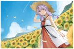 1girl bare_shoulders binchou_maguro blue_sky bracelet clouds commentary condensation_trail day dress dutch_angle falling_petals feet_out_of_frame field flower flower_field glint hair_ornament hair_scrunchie hairclip hat jewelry light_smile looking_at_viewer mountainous_horizon okhotsk_yukari outdoors purple_hair scrunchie short_hair_with_long_locks sidelocks sky solo standing straw_hat sunflower vocaloid voiceroid white_dress yuzuki_yukari