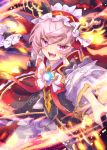 1girl fang fire frills gem headdress highres holding holding_weapon ittokyu looking_at_viewer mogthrasir open_mouth pink_hair signature skin_fang skirt solo tongue valkyrie_connect violet_eyes weapon