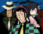 1boy 1girl 2boys arsene_lupin_iii bamboo bit_gag black_hair checkered cosplay earrings f09fa4aa facial_scar forehead_scar gag hair_between_eyes hair_ribbon japanese_clothes jewelry kamado_nezuko kamado_nezuko_(cosplay) kamado_tanjirou kamado_tanjirou_(cosplay) kibutsuji_muzan kibutsuji_muzan_(cosplay) kimetsu_no_yaiba kimono long_hair looking_at_viewer lupin_iii mine_fujiko multiple_boys parody pink_eyes pink_kimono pink_ribbon red_eyes ribbon scar smile style_parody zenigata_kouichi