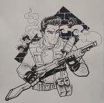 1boy bullet_hole chris_redfield fingerless_gloves gloves gun highres holding holding_gun holding_weapon ink_(medium) looking_to_the_side monochrome natephoenix resident_evil shotgun solo traditional_media weapon