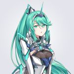 1girl :o bangs breasts chest_jewel commentary_request earrings green_eyes green_hair grey_background jewelry large_breasts long_hair pneuma_(xenoblade) ponytail sarasadou_dan simple_background solo spoilers swept_bangs tiara upper_body very_long_hair xenoblade_chronicles_(series) xenoblade_chronicles_2