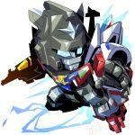 1boy autobot blue_eyes chibi glowing glowing_eyes looking_to_the_side mecha no_humans open_hand sixwing solo tatsu_(seisouken) transformers transformers_micromaster