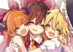 3girls :d ^_^ bangs blonde_hair blunt_bangs blush bow braid brown_hair closed_eyes commentary_request eyebrows_visible_through_hair fang hair_bow hakurei_reimu happy horns hug ibuki_suika kirisame_marisa kyouda_suzuka long_hair multiple_girls open_mouth orange_hair puffy_short_sleeves puffy_sleeves red_bow short_sleeves single_braid smile touhou upper_body