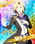 blonde_hair character_name green_eyes idolmaster idolmaster_side-m jacket long_hair smile tsuzuki_kei