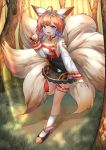 1girl ahoge animal_ears black_choker braid choker day deaver forest fox_ears fox_tail full_body grass guardian_tales highres multiple_tails nature orange_hair outdoors paw_pose solo tail thigh_strap whisker_markings white_legwear
