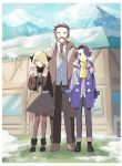 1girl 2boys artist_name augustine_sycamore blonde_hair brown_coat brown_hair brown_jacket brown_neckwear coat collared_shirt commentary_request cynthia_(pokemon) facial_hair fur-trimmed_jacket fur_trim grass grey_vest hair_over_one_eye hand_on_another's_shoulder jacket kusuribe multiple_boys mustache necktie outdoors pants pokemon pokemon_(game) pokemon_dppt pokemon_xy purple_coat rowan_(pokemon) scarf shirt skirt standing vest white_shirt yellow_scarf younger