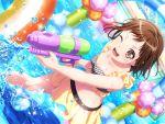 bang_dream! black_hair blush brown_eyes hazawa_tsugumi short_hair smile swimsuit wink