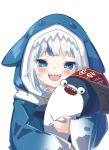 1girl :d animal bloop_(gawr_gura) blue_eyes blue_hair blush gawr_gura highres holding holding_animal hololive hololive_english long_sleeves looking_at_viewer multicolored_hair namaonpa open_mouth shark shark_hood sharp_teeth simple_background smile streaked_hair symbol_commentary teeth upper_body white_background white_hair