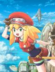 1girl belt bike_shorts bike_shorts_under_shorts blonde_hair blue_sky breasts brown_gloves cabbie_hat capcom clouds gloves green_eyes hat holding holding_wrench long_hair menome open_mouth red_headwear red_shorts rockman rockman_dash roll_caskett short_sleeves shorts sky small_breasts smile solo wrench