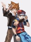 2boys arm_around_neck backpack bag baseball_cap belt black_wristband blue_oak blue_pants brown_eyes brown_hair brown_pants commentary_request fingernails grey_eyes guma_(gumatyo) hand_on_headwear hand_up hat highres jacket jewelry long_sleeves male_focus multiple_boys necklace open_mouth pants pokemon pokemon_(game) pokemon_hgss red_(pokemon) salute short_sleeves spiky_hair tongue vs_seeker wristband