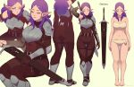 1girl armor armored_boots ass_visible_through_thighs bangs barefoot blind blue_eyes bodysuit boots bra breastplate breasts character_name collage commentary elf elledara_(razalor) english_commentary fantasy forehead greaves hair_ornament hairclip highres leg_tattoo medium_breasts medium_hair multiple_views original panties parted_bangs pointy_ears purple_hair razalor scar scar_across_eye shoulder_armor single_pauldron strapless strapless_bra sword sword_behind_back tattoo toes underwear upper_body weapon zweihander