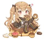 1girl bangs black_footwear black_gloves black_jacket black_ribbon blush boots brown_eyes brown_legwear caramell0501 closed_mouth commentary cross-laced_footwear doughnut eating eyebrows_visible_through_hair fingerless_gloves food food_in_mouth full_body girls_frontline gloves grey_skirt hair_between_eyes heart highres holding holding_food jacket lace-up_boots light_brown_hair long_hair looking_at_viewer minigirl mouth_hold neck_ribbon open_clothes open_jacket pantyhose pleated_skirt ribbon shirt simple_background skirt solo symbol_commentary twintails ump9_(girls_frontline) very_long_hair white_background white_shirt