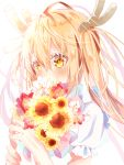 1girl blonde_hair blush bouquet flower frills highres holding kobayashi-san_chi_no_maidragon long_hair maid multicolored multicolored_eyes red_eyes shirt short_sleeves tears tooru_(maidragon) twintails white_background white_shirt yellow_eyes yuiragi_yuki