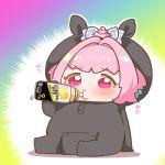 1girl baby_bottle bottle bow censored chibi drinking hair_bow idolmaster idolmaster_cinderella_girls mosaic_censoring onesie pink_eyes pink_hair simple_background sitting solo strong_zero takato_kurosuke translated yumemi_riamu