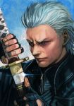 1boy black_gloves black_jacket blue_eyes closed_mouth devil_may_cry devil_may_cry_5 face fingerless_gloves gloves hankuri holding holding_sword holding_weapon jacket katana looking_at_viewer sheath simple_background solo sword unsheathing vergil weapon white_hair zipper