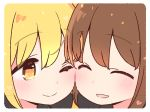 2girls brown_hair closed_eyes cuddling fumizuki_(kantai_collection) heart kantai_collection light_blush multiple_girls one_eye_closed satsuki_(kantai_collection) smile yellow_eyes yoru_nai