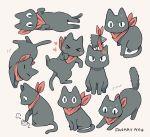 >_< :3 =_= anger_vein animal animal_focus ayu_(mog) black_cat cat closed_eyes crow_(nichijou) nichijou no_humans red_scarf sakamoto_(nichijou) scarf signature simple_background solo tail
