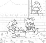 1boy 2girls ayyk92 blanket bowsette collar crown cup dish flower gloves hat mario mario_(series) monochrome multiple_girls new_super_mario_bros._u_deluxe nintendo overalls princess_peach source_request spiked_armlet spiked_collar spiked_gauntlets spiked_shell spiked_tail spikes super_crown tail teacup teapot turtle_shell