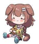 1girl :3 =_= animal_ears blush bone_hair_ornament brown_hair chibi chocolate_cornet dog_ears dog_girl dog_tail food hololive inugami_korone long_hair long_sleeves namaonpa off_shoulder simple_background sitting solo symbol_commentary tail virtual_youtuber white_background