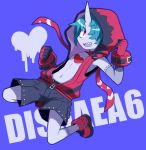 1boy absurdres black_shorts blue_background blue_skin blush choker clenched_hands collarbone copyright_name disgaea disgaea_6 full_body hair_over_one_eye highres himawari_(kawaisounaedesu) hood hood_up horns jumping looking_at_viewer male_focus navel red_choker red_eyes red_footwear red_hoodie sharp_teeth shoes shorts simple_background single_horn skin-covered_horns sleeveless smile solo teeth zed_(disgaea) zipper_pull_tab zombie
