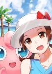 1girl :d absurdres bare_shoulders bow brown_eyes brown_hair clouds collarbone commentary english_commentary gen_1_pokemon hat hat_bow highres hill jigglypuff light_beam looking_at_viewer lyra_(pokemon) mr._miruku open_mouth outdoors pokemon pokemon_(creature) pokemon_(game) pokemon_masters_ex red_bow shiny shiny_hair sky smile tongue tree twintails water white_headwear