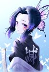 1girl black_jacket blue_hair blush bug butterfly butterfly_hair_ornament closed_mouth from_side hair_intakes hair_ornament haori highres insect jacket japanese_clothes kanzi kimetsu_no_yaiba kochou_shinobu looking_at_viewer looking_back shiny shiny_hair short_hair_with_long_locks sidelocks solo sword upper_body violet_eyes weapon