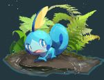 blue_eyes commentary_request full_body gen_8_pokemon highres leaf looking_to_the_side no_humans nullma open_mouth pokemon pokemon_(creature) sobble starter_pokemon tongue water