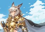 1girl absurdres alliah_istavion animal_ears armor bangs breastplate cape clouds day gauntlets granblue_fantasy green_hair hair_ornament highres hjz_(artemi) huge_filesize leaf looking_at_viewer short_hair shoulder_armor solo upper_body wind yellow_eyes