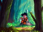 1boy ^_^ arm_support child closed_eyes dougi dragon_ball dragon_ball_z eating english_commentary food forest fruit grass highres holding holding_food holding_fruit male_focus nature ownahole rock sitting solo son_gohan tree