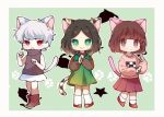 .flow 3girls :> :o :| alternate_hair_length alternate_hairstyle animal_ears bangs blunt_bangs bob_cut brown_eyes brown_footwear brown_hair brown_shirt calico cat_ears cat_girl cat_tail chibi closed_mouth copyright_request crossover dress fang full_body green_background green_dress green_eyes hrdrifter kemonomimi_mode kneehighs long_sleeves looking_at_viewer madotsuki miniskirt multiple_girls paw_pose paw_print pinafore_dress pink_shirt pink_skirt pleated_skirt red_eyes red_footwear sabitsuki shirt shoes short_hair silhouette skirt sleeveless socks standing t-shirt tail turtleneck white_hair white_legwear white_skirt yume_nikki