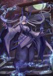 1girl absurdres bare_shoulders blue_eyes blue_fire blue_horns blue_theme closed_mouth detached_sleeves fire grey_hair haikei_(le_gris_no9) hair_over_one_eye highres holding holding_sword holding_weapon horns japanese_clothes katana long_hair moon night night_sky oni oni_horns original outdoors scabbard sheath shrine sky solo stairs standing sword torii tree twintails very_long_hair weapon wide_sleeves