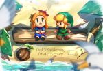 1boy 1girl beach blonde_hair blue_dress chibi dress feathers flower gonzarez green_headwear green_tunic hair_flower hair_ornament link looking_at_another looking_up marin_(the_legend_of_zelda) orange_hair palm_tree pointy_ears sand_writing the_legend_of_zelda the_legend_of_zelda:_link's_awakening tree