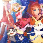 1girl arms_behind_back bangs blue_eyes boots bow bow_hairband braixen brown_footwear brown_legwear closed_mouth commentary_request gen_6_pokemon gloves hair_bow hairband hand_up high_heels index_finger_raised kanimaru key leg_up looking_at_viewer multiple_views open_mouth pancham pink_bow pink_hairband pokemon pokemon_(anime) pokemon_(creature) pokemon_xy_(anime) red_footwear serena_(pokemon) shiny shiny_hair short_hair smile spread_fingers sylveon thigh-highs tongue v