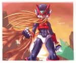 1boy android blonde_hair cowboy_shot energy_sword facing_viewer helmet highres holding holding_weapon injury kamiyama_teten long_hair male_focus rockman rockman_zero serious signature solo sword weapon zero_(rockman)