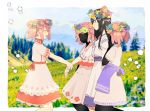 2girls :d ^_^ akemi_homura alternate_costume apron argyle arm_at_side bare_legs black_hair black_skin blue_sky blurry blurry_background border clone closed_eyes closed_mouth clouds cloudy_sky collared_dress colorful day dress expressionless eyelashes faceless faceless_female facing_away flower forest from_side grass half-closed_eyes hand_on_own_face hand_up happy head_wreath height_difference hill kaname_madoka leaf leaf_print legs_up light_blush long_hair looking_at_another mahou_shoujo_madoka_magica multiple_girls nature open_mouth orange_flower outdoors outside_border outstretched_arms patterned_clothing pc_(z_yu) pine_tree pink_dress pink_flower pink_hair pink_ribbon plus_sign profile purple_apron purple_dress purple_flower ribbon shiny shiny_hair short_dress short_sleeves short_twintails side-by-side sidelocks sky smile sparkle standing surreal tree twintails waist_apron white_border white_dress wrist_grab yellow_flower