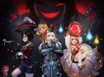 6+girls ;d absurdres anger_vein animal_ears armor blonde_hair brown_hair clenched_hand daeno female_knight_(guardian_tales) fox_ears fox_tail grey_background guardian_tales helmet highres holding holding_sword holding_weapon lupina_(guardian_tales) multiple_girls one_eye_closed open_mouth red_headwear shorts smile staff standing sword tail tiara weapon yin_yang