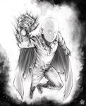 1boy bald belt bodysuit boots bruise cape clenched_hand closed_mouth flying full_body gloves greyscale highres injury jitome looking_at_viewer monochrome one-punch_man pants saitama_(one-punch_man) sanpaku signature solo superhero the_golden_smurf