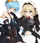 2girls apron assault_rifle bare_shoulders black_jacket black_shirt black_skirt blonde_hair blue_eyes blue_hair breastplate chaesu crop_top frown g36_(girls_frontline) girls_frontline goggles goggles_on_head gun h&k_g36 highres holding holding_gun holding_weapon jacket long_hair looking_at_viewer maid maid_apron maid_headdress midriff multiple_girls navel off_shoulder rifle scope shirt short_hair simple_background skirt strap_slip string_bikini v-shaped_eyebrows waist_apron weapon white_background wing_collar yellow_eyes zas_m21_(girls_frontline) zastava_m21