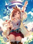 1girl armpits atelier_(series) atelier_ryza belt blue_belt blush breasts brown_eyes brown_gloves brown_hair commentary_request gloves hair_ornament hairclip hand_on_hip hat jacket jewelry leather_belt looking_at_viewer medium_breasts navel necklace pointing pointing_up red_shorts reisalin_stout riichu round-bottom_flask short_hair short_shorts shorts single_glove sleeveless sleeveless_jacket smile solo star_(symbol) star_necklace thigh-highs thighs vial white_headwear yellow_jacket