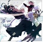 2boys alternate_costume alternate_universe belt black_jacket black_pants blonde_hair blood blood_splatter cuts dismemberment douma_(kimetsu_no_yaiba) dual_persona fan fangs fingernails flower hat hat_removed headwear_removed highres ice ice_flower ice_shard injury jacket kimetsu_no_yaiba laughing long_hair lotus multicolored multicolored_eyes multiple_boys pants petals purple_robe rainbow_eyes serious severed_limb tmtm24787088 what_if