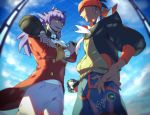 2boys baseball_cap black_hoodie buttons clouds commentary_request day earrings hat highres holding holding_clothes holding_hat holding_poke_ball jewelry leon_(pokemon) male_focus multiple_boys number open_mouth orange_headwear poke_ball pokemon pokemon_(game) pokemon_swsh purple_hair raihan_(pokemon) shorts sky smile suruga_dbh teeth ultra_ball yellow_eyes