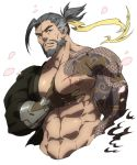 1boy abs bara bare_chest beard blood chest cropped_torso facial_hair forked_eyebrows grabbing grey_hair hanzo_(overwatch) highres injury konohanaya male_focus manly medium_hair muscle navel nipples overwatch pectoral_grab prosthesis prosthetic_arm self_fondle shoulder_tattoo solo sweatdrop tattoo