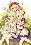 3girls ;d absurdres ahoge animal arm_up bangs barbara_(genshin_impact) bare_shoulders black_gloves blonde_hair blue_eyes book bow brown_eyes brown_hair bug butterfly commentary_request detached_sleeves dress eyebrows_visible_through_hair female_traveler_(genshin_impact) flower genshin_impact gloves hair_between_eyes hair_flower hair_ornament hat highres holding holding_book insect klee_(genshin_impact) knees_together_feet_apart long_hair long_sleeves looking_at_viewer multiple_girls mushroom one_eye_closed open_mouth pantyhose partly_fingerless_gloves pleated_dress pointy_ears puffy_long_sleeves puffy_sleeves red_eyes red_flower red_headwear sitting sleeves_past_wrists smile strapless strapless_dress thigh-highs tree_stump tsubasa_tsubasa two_side_up v white_bow white_dress white_flower white_legwear white_sleeves