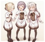3girls :d ^_^ bangs black_bow black_footwear black_legwear blush bow braid brown_bow brown_hair closed_eyes collared_shirt eyebrows_visible_through_hair frilled_skirt frills grey_hair hair_between_eyes hair_bow hair_flaps hair_over_one_eye highres holding_hands hoshi_shouko idolmaster idolmaster_cinderella_girls kawaii_boku_to_142's koshimizu_sachiko loafers long_hair matching_outfit multiple_girls open_mouth plaid plaid_bow plaid_skirt pleated_skirt puffy_short_sleeves puffy_sleeves purple_hair shirasaka_koume shirt shoes short_hair short_sleeves skirt smile thigh-highs very_long_hair white_shirt white_skirt wrist_cuffs yukie_(kusaka_shi)