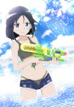 1girl bandaid bandaid_on_face bikini black_bikini black_hair blue_eyes blue_shorts blush brave_witches breasts clouds cloudy_sky collarbone eyebrows_visible_through_hair highres kanno_naoe looking_at_viewer open_clothes open_shorts outddors shiny shiny_hair short_hair short_shorts shorts sky small_breasts smile smirk solo sparkle standing swimsuit swimwear water_gun world_witches_series