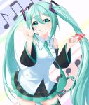 1girl bangs black_legwear black_skirt black_sleeves blue_eyes blue_hair blue_nails box collared_shirt cowboy_shot detached_sleeves dress_shirt eyebrows_visible_through_hair floating_hair gift gift_box grin hair_between_eyes hatsune_miku headphones headset highres holding holding_box long_hair long_sleeves microphone miniskirt musical_note nail_polish plaid plaid_skirt shiny shiny_hair shirt skirt sleeveless sleeveless_shirt smile solo standing strelitz thigh-highs twintails very_long_hair vocaloid w white_background white_shirt wing_collar zettai_ryouiki